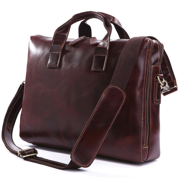 2016 Hit 100% Layer Cow Leather Bag Business Men's Bags Leather Laptop Slanting Across The Single Shoulder Bag Vegetan Leather(China (Mainland))