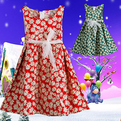 Toddler Floral Kids Girls Princess Sleeveless Party Princess Sun Dress 2 to 8 Yrs(China (Mainland))