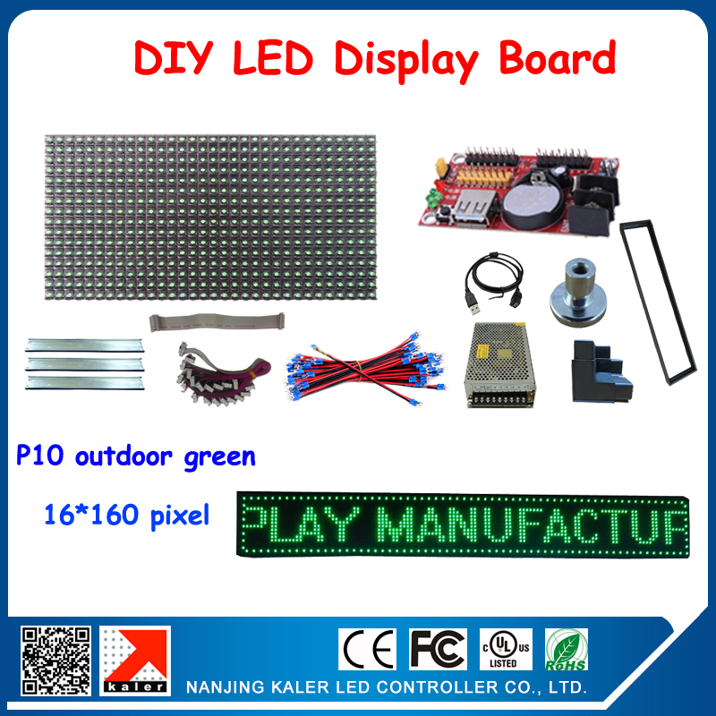 Free shipping diy led signs for advertising waterproof outdoor led signboard with 5pcs green color p10 led modules outdoor(China (Mainland))