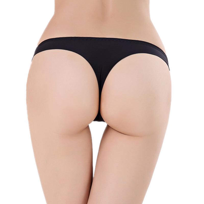 S M L XL XXL Plus Size Panties Sexy Woman Thongs Tangas Lady Invisible Underwear Womens Knickers Seamless Tangas Mujer Black(China (Mainland))