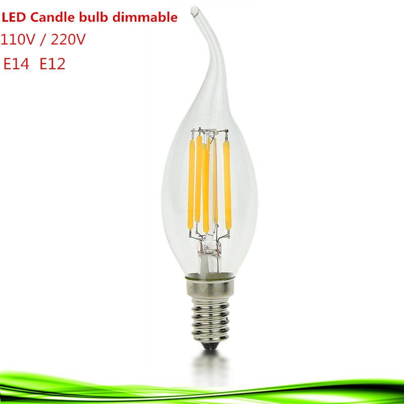 NEW LED E14 bulb E12 4W 6W 9W 110V 220V led filament candle Bulb dimmable warm /cool white led lamp chandlier crystal light(China (Mainland))