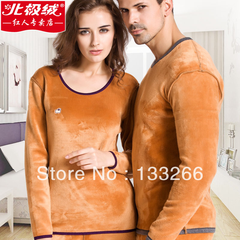 2016 One piece thick golden flower male women's lovers set thermal underwear velvet thickening boxed(China (Mainland))