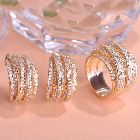High Quality Luxury Jewelry Sets Earrings Ring Sets AAA Zircon Shiny Diamond 18K Real Gold Plated Noble Charm Women Accessories