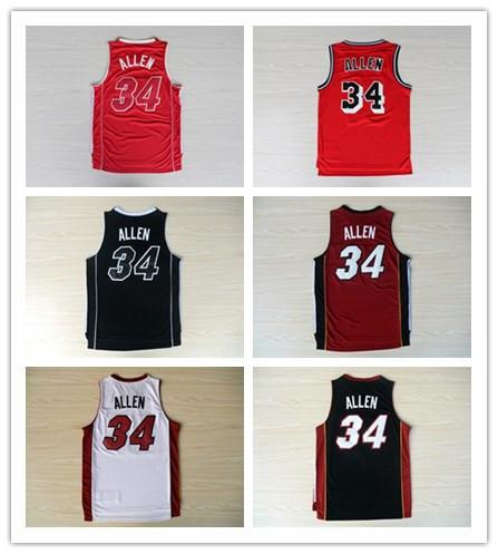 Free shipping Ray Allen 34 Basketball Shirt Basketball Jersey Allen Number 34 Miami Basketball Jersey(China (Mainland))