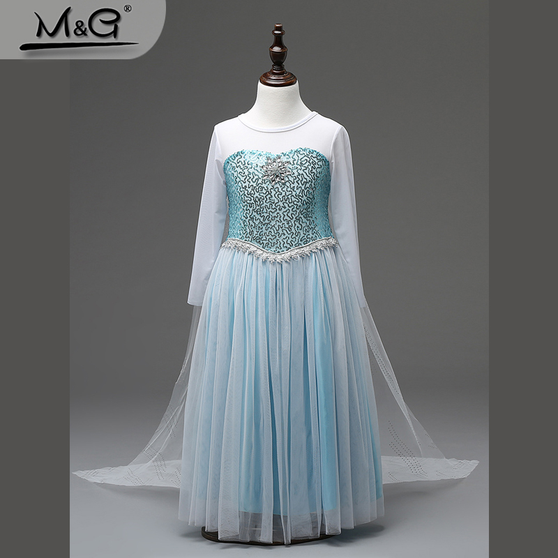 2016 summer snow queen Elsa dress girl children kids Halloween Cosplay princess Costume white lace tulle girl dress ball gowns(China (Mainland))