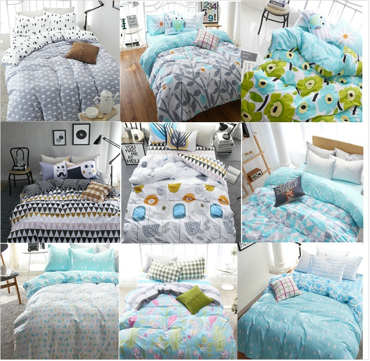 cotton fashion style cartoon plaid twin queen size single 4pcs bedding bed sheet set bedclothes duvet cover set bedding set(China (Mainland))