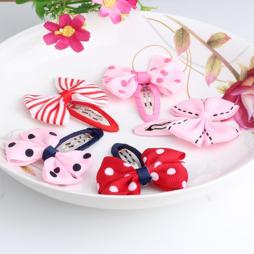 New Sale 1 lot=2 Pcs Bowknot Hairpins 17 colors Baby Hair Clip Summer Style Kids Hair Accessories ribbon Printing Bow Hair Clip(China (Mainland))
