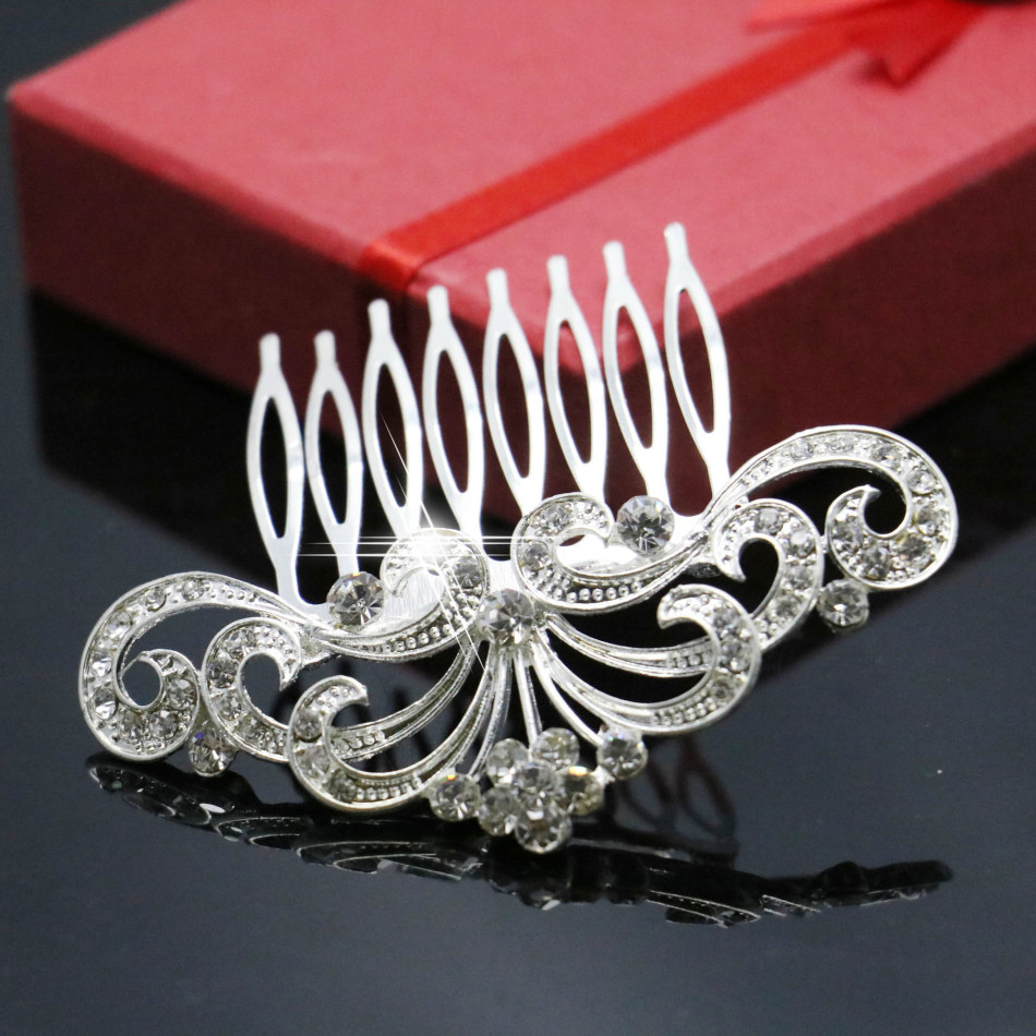 2015 New Crystal Peacock Tail Hairpin Hair Comb Hair Clips Exquisite Party Jewelry For Women Accessories Wedding Decoration(China (Mainland))