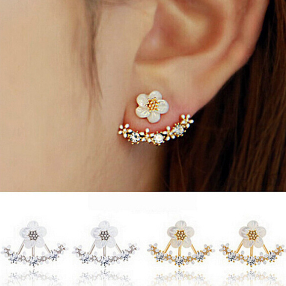 Korean Jewelry 2016 New Zircon Crystal Front Back Double Sided Stud Earrings For Women Fashion Ear Jacket Piercing Earing Koyle(China (Mainland))
