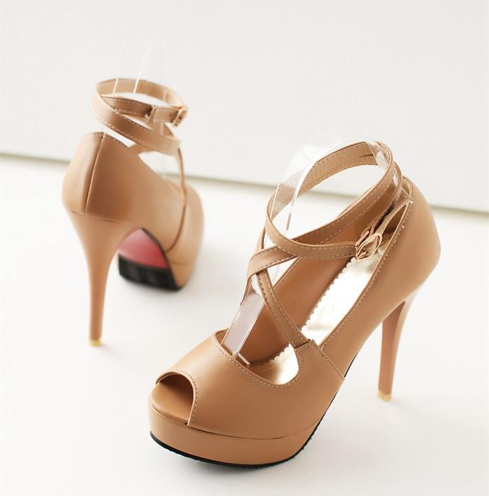 women heels red sole shoes platform pumps high female stilettos open toe peep party 2015