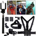 10in1 Accessories Kit Head Chest Mount Bettery Charger Monopod For GoPro 1 2 3 4 Camera