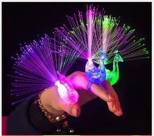 led Light change color cartoon peacock children's ring toys proud as a Peacock flash ring(China (Mainland))