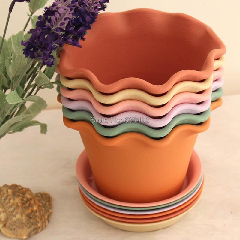 2 pcs/lot Roman pots Lotus round flower pot Resin flowerpots + tray / 6 colors /wholesale in stock(China (Mainland))