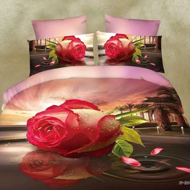 Comfortable print 3d bedding sets queen size bedclothes duvet cover set(China (Mainland))