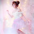 Princess sweet lolita dressBOBON21 Japan GA runway high end small fairy dress strapless dress sparkling snow