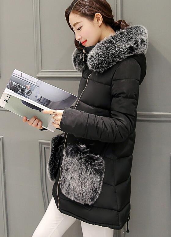 Скидки на Зима Женщины Мех Пальто Мода Утолщаются Вниз Пальто Хлопка для женщины С Капюшоном Меха Карманы Длинные Женщины Ватник Теплый Пиджаки парки