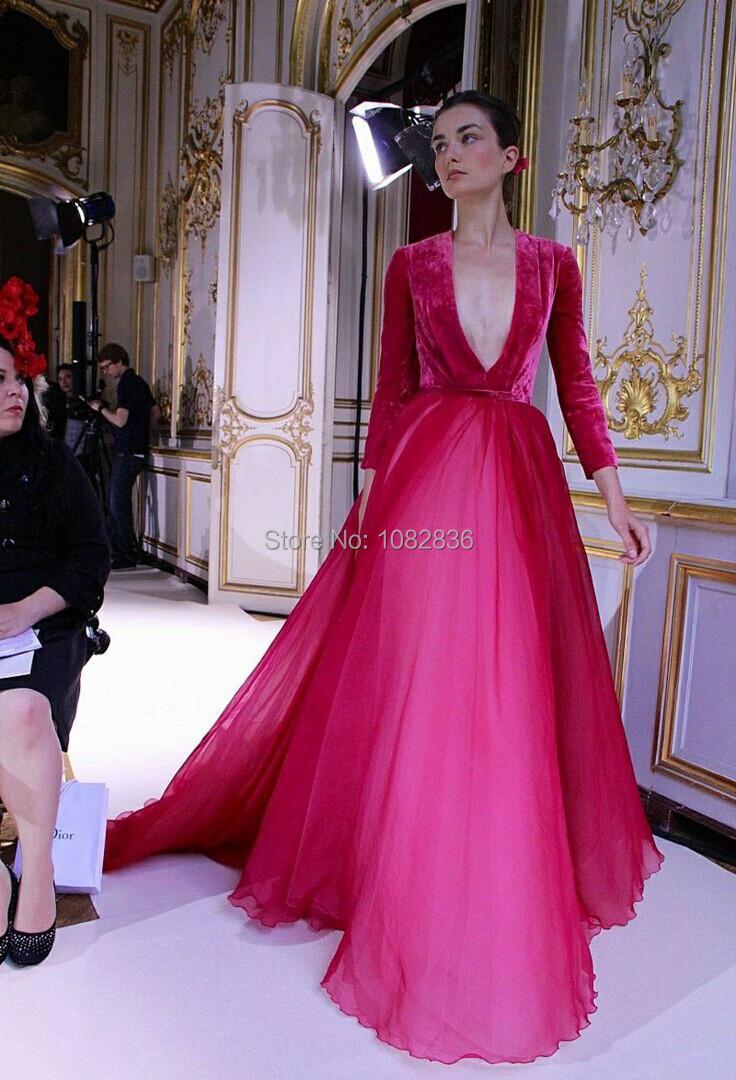 2015 Vestido De Renda Full Sleeves Deep V Neck Red Organza Glamorous Noble Velvet Evening Prom Dresses(China (Mainland))
