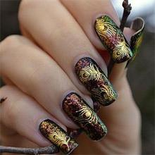 2014 New Brand beautiful women's Gold Peacock Feather nail Stickers Decals Nail Art tip decoration free shipping