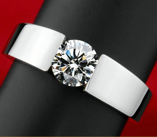 High quality men engagement ring Classic CZ Diamond tension 18K white Gold filled bridal rings for women wedding jewelry(China (Mainland))