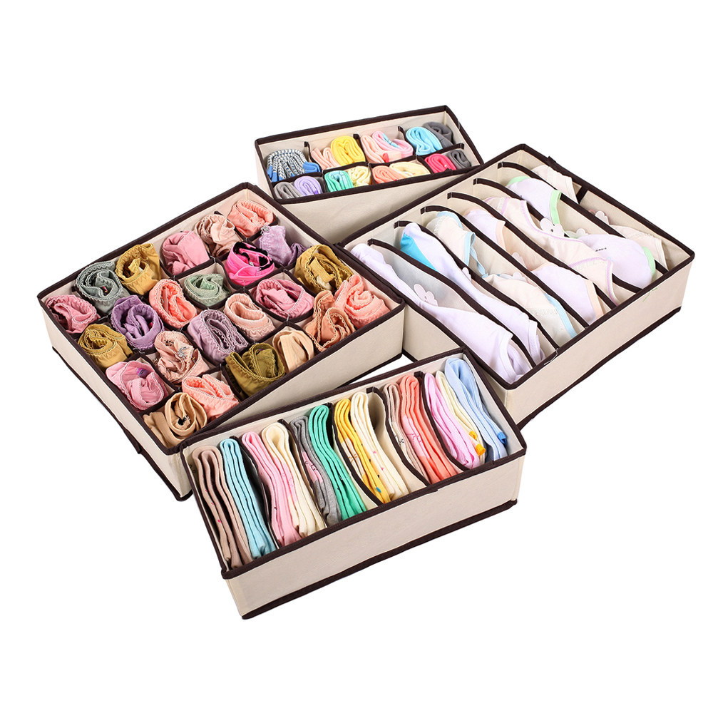 Beige storage container drawer divider lidded closet box - Organizadores de ropa ...