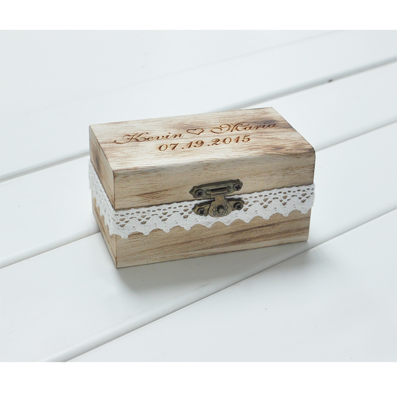 Personalized Gift Rustic Wedding Ring Bearer Box Custom Your Names and Date Engrave Wood Wedding Ring Box(China (Mainland))