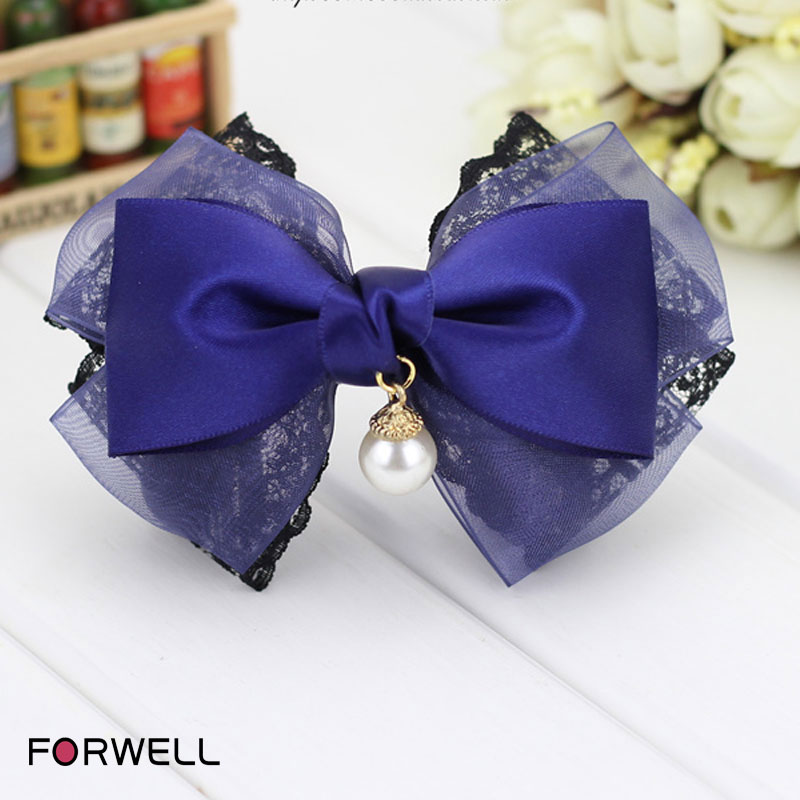 Hair jewelry accessories for women handmade barrettes headwear black lace blue silk yarn pendants bow hairpins elastic tapes(China (Mainland))