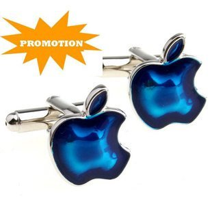 Promotion: Stainless Steel Cuff Link 2pairs Wholesale Free Shipping / Apple