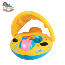 Arshiner New Babies Children Kids Sunshade Inflatable Boat Water Development Toys Toddler Baby PVC Rubber Boat Yellow(China (Mainland))