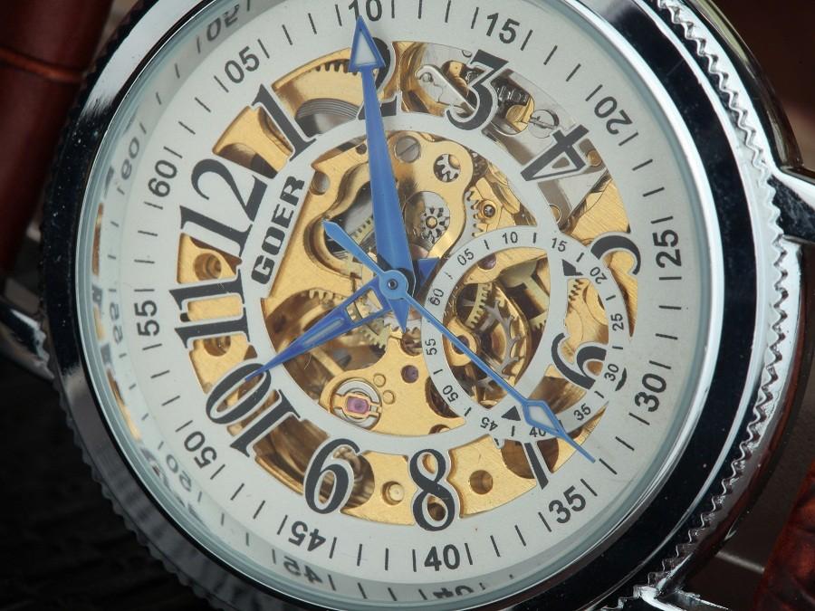 GOER марка Моды мужской наручные часы мужские часы механические Водонепроницаемый Световой цифровой Скелет Кожа спорт