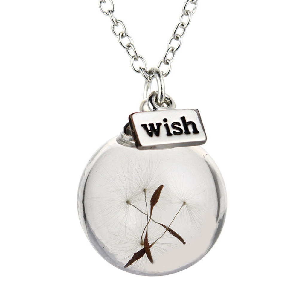 2016 New Design Girls Chokers Necklaces Glassl Handmade glass dandelion wish clavicle chain- Photo Color(China (Mainland))
