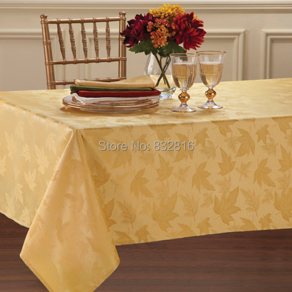 100% Polyester Gold Solid Jacquard Party Table Linen Elegant Rectangle Dining Tablecloth Round Table Cloth For Wedding 132x178cm(China (Mainland))