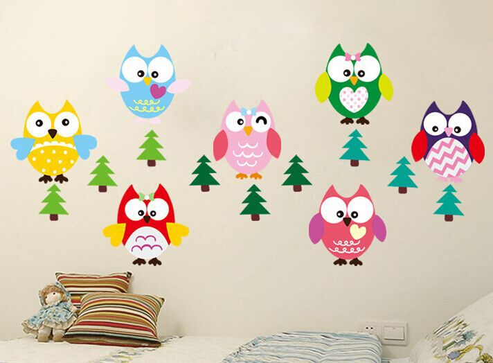 Removable Multicolor Cartoon Owl Tree Wall Stickers Kids Bedroom Sticker Home Decor(China (Mainland))