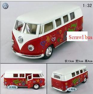 1:32 mini American classic die cast graffiti bus car model door open(China (Mainland))