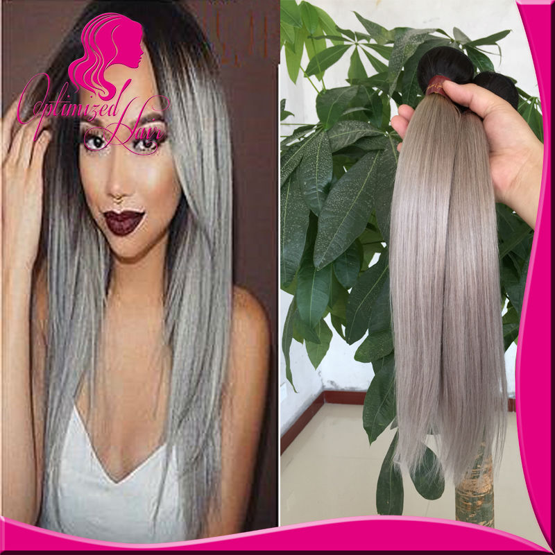 Virgin ombre brazilian hair dark root  dark root 1b silver ombre hair 8-30in stock ombre grey hair  free shipping<br><br>Aliexpress
