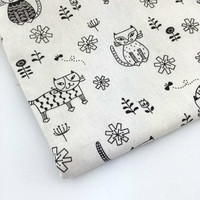 50x140cm Retro cat printed cotton linen Fabric Burlap for Sewing Textile Quilting Diy for pillow curtain Purse