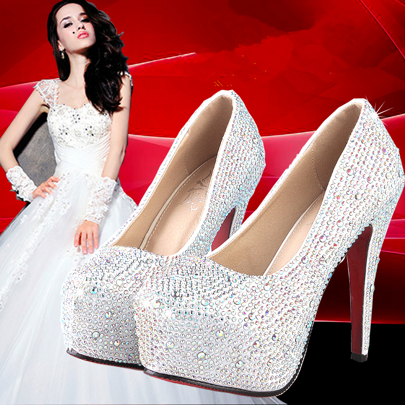 NEW 2015 Women High Heels Prom Wedding Shoes Lady Crystal Platforms Silver Glitter Rhinestone Bridal Shoes Thin Heel Party Pump(China (Mainland))