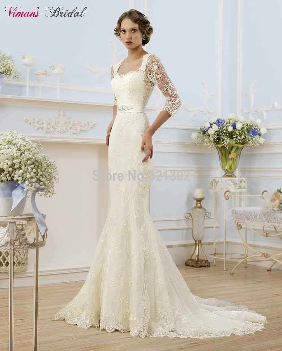 Lace mermaid sweetheart floor length three quarter sleeves for Wedding dresses with three quarter length sleeves