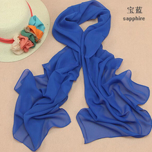 Summer new solid color chiffon silk scarf women candy color sun beach cachecol wholesale foulard femme designer wrap scarves(China (Mainland))