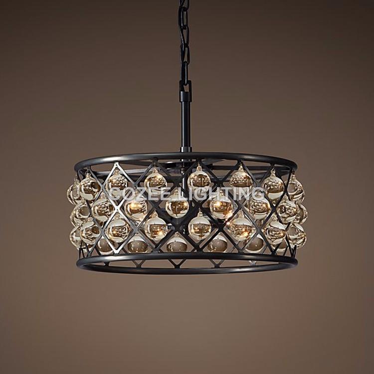 Vintage Glass Drop Chandelier Lamp LED Lighting Crystal Hanging Light lustres de cristal for Living Dining Room Home Decor