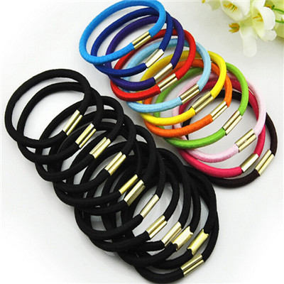 10pcs/lot Black and Candy Colored Hair Holders Elasticity Rubber Hair Band Tie Hair for Girl Women / Hair Accessories(China (Mainland))