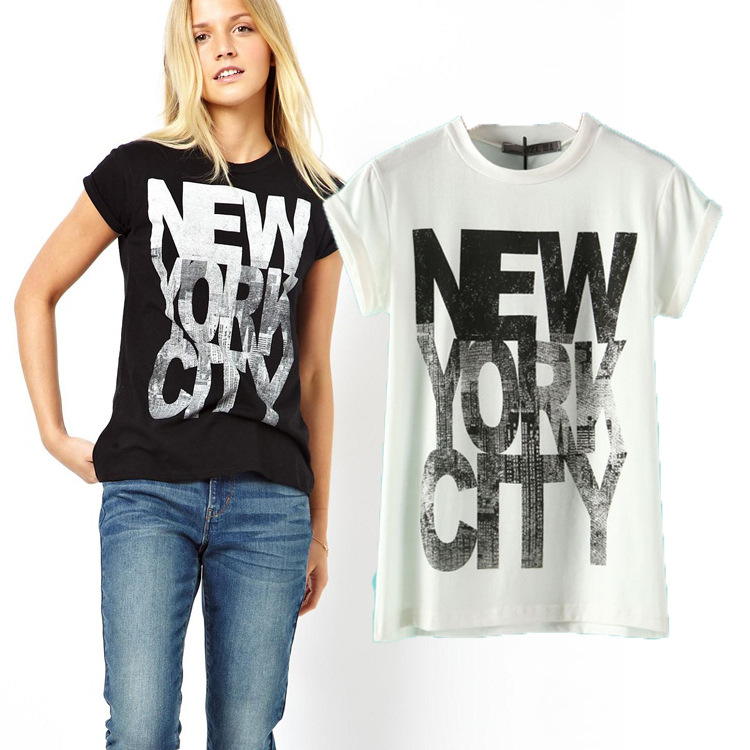 2015 fashion summer new York letter print short roll sleeve women's casual o neck T-shirt - Chic Classic Store store