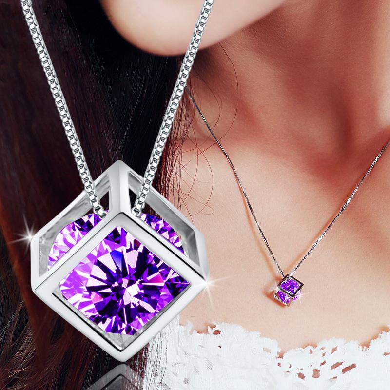 2015 New 925 sterling silver box chain Purple Austrian Crystal Hearts and Arrows Love Cube Pendant choker drop necklace(China (Mainland))