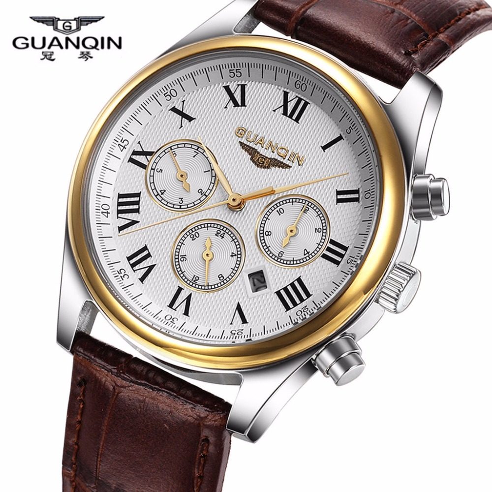 High Quality Brand Original GUANQIN Men's Quartz Watches Classic Luxury Male Waterproof Leather Band Wristwatches Free Shipping(China (Mainland))