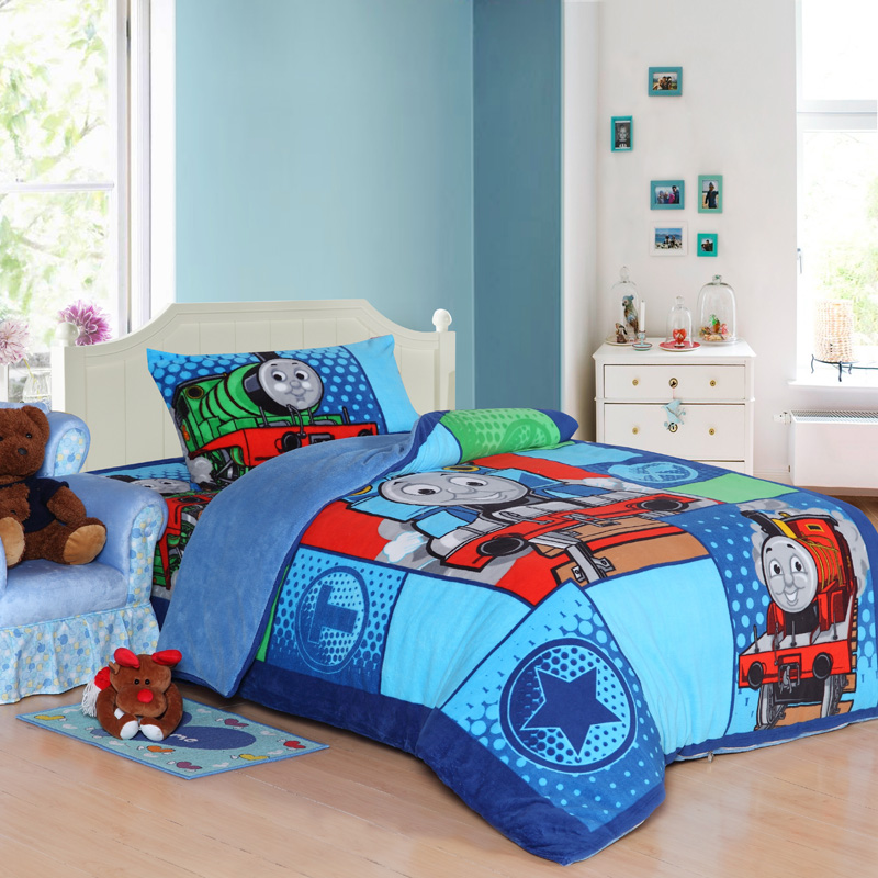 Train Thomas Kids Bedding Set Queen Size Cartoon Blue