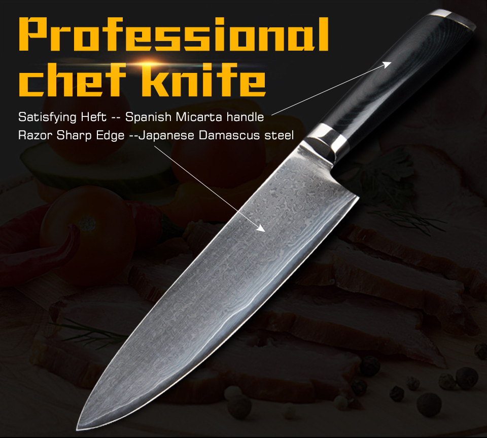 "Buy Damascus kitchen knife 8"" cleaver knife meat knife kitchen tool slicing cuchillo cocina cheap"
