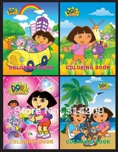 Promotion+Free Shipping! 21x8cm Dora-Kids Cartoon Coloring Books/ Stickers & Drawing Books/Kids DIY Toy/Children Gift, 8 pcs/lot