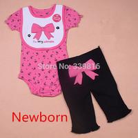 2016 Summer Newborn Baby Girl's Butterfly 3-piece Short-Sleeve Bodysuit Sets (Jumpsuit + Pant+Bib) for Neonate Infantil NB/3M/9M