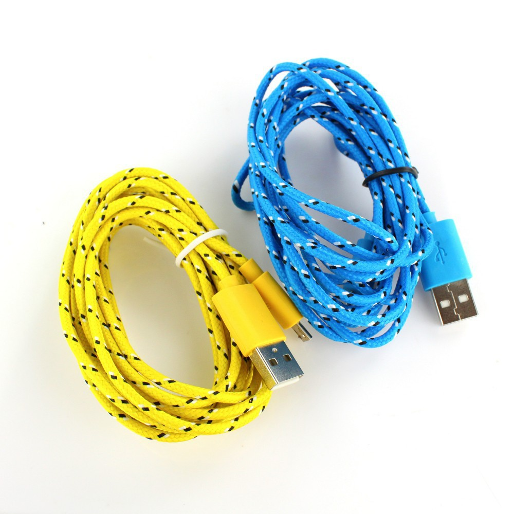 Promotion sale 2M Fabric Braided Micro USB Cable Charging Cable 1pc(China (Mainland))