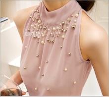 2015 New Women Beading Chiffon Blouse Korean Fashion Sleeveless Women Turtleneck Chiffon Blouse Shirt Women Top S M L XL835I 42(China (Mainland))