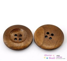 "50PCs Coffee 4 Holes Round Wood Sewing Buttons 25mm(1"") Dia. (B21317) 8years(China (Mainland))"